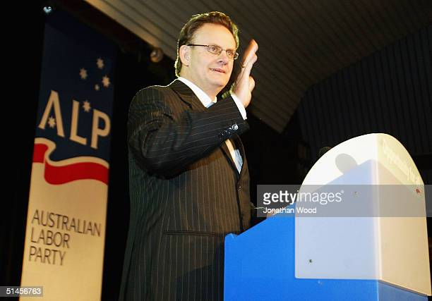 Mark Latham Federal Leader of the Australian Labor Party leaves the stage after conceding defeat in the Federal Election at the Mount Pritchard...