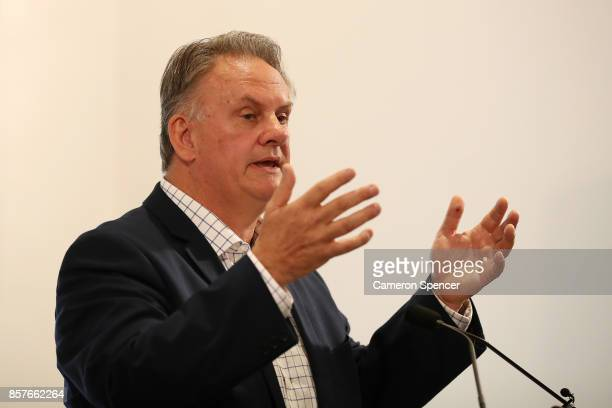 Mark Latham talks during the launch of his new book 'Outsiders I won't be silenced' on October 5 2017 in Sydney Australia The former Leader of the...