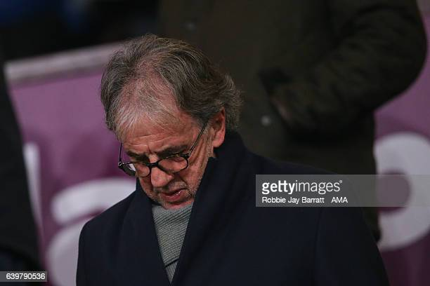Mark Lawrenson BBC pundit watches the game during The Emirates FA Cup Third Round Replay between Burnley and Sunderland at Turf Moor on January 17...