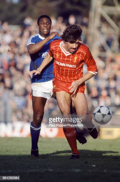 Mark Lawrenson of Liverpool is challenged by Terry Connor of Brighton Hove Albion during an FA Cup 4th Round match at Goldstone Ground on January 29...