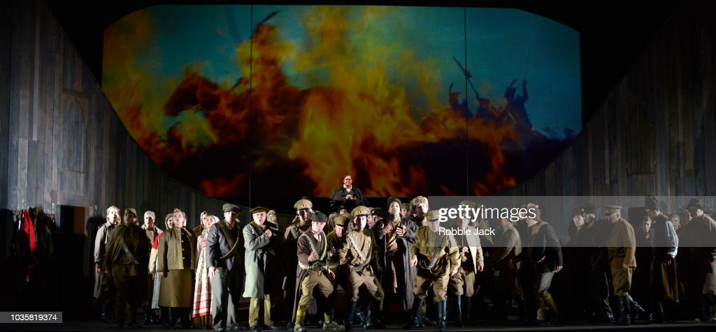 Mark Le Brocq as Pierre with artists of the company in Welsh National Opera's Production Of Prokofiev's War And Peace directed by David Pountney and conducted by Tomas Hanus at Wales Millennium Centre on September 11, 2018 in Cardiff, Wales.