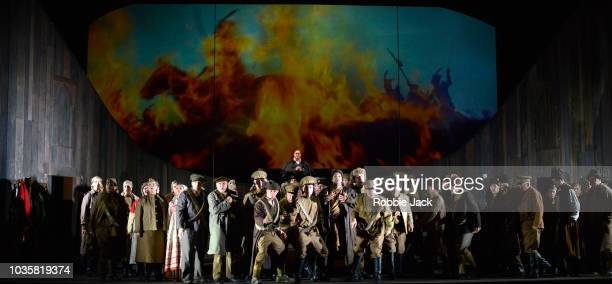 Mark Le Brocq as Pierre with artists of the company in Welsh National Opera's Production Of Prokofiev's War And Peace directed by David Pountney and...