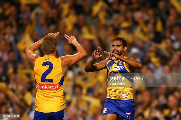 Mark LeCras and Lewis Jetta of the Eagles celebrate a goal during the round four AFL match between the West Coast Eagles and the Richmond Tigers at...