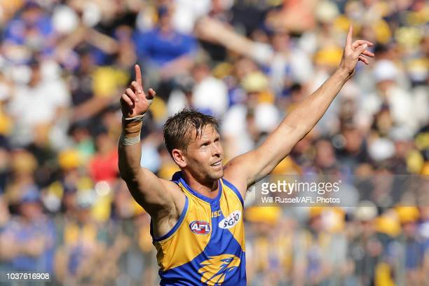 Mark LeCras of the Eagles celebrates after scoring a goal during the AFL Prelimary Final match between the West Coast Eagles and the Melbourne Demons...
