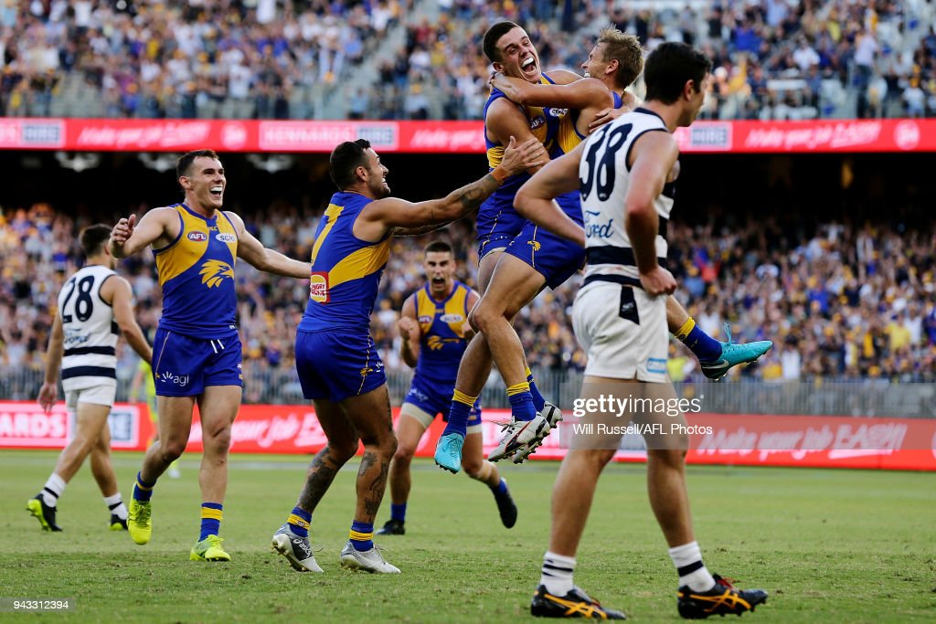 Mark LeCras of the Eagles celebrates after scoring a goal during the round three AFL match between the West Coast Eagles and the Geelong Cats at Optus Stadium on April 8, 2018 in Perth, Australia.