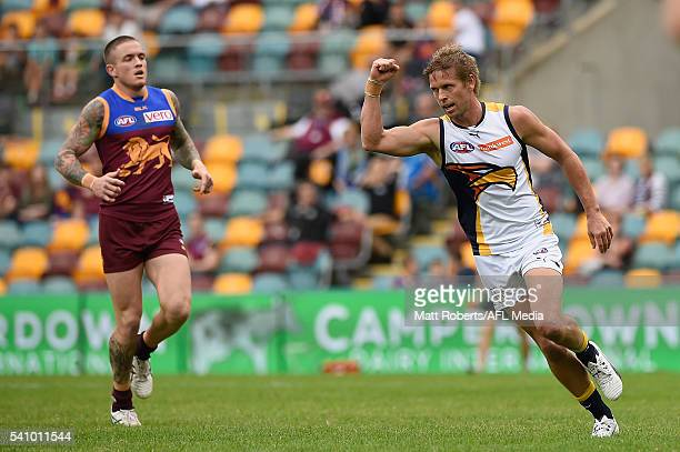 Mark LeCras of the Eagles celebrates kicking a goal during the round 13 AFL match between the Brisbane Lions and the West Coast Eagles at The Gabba...