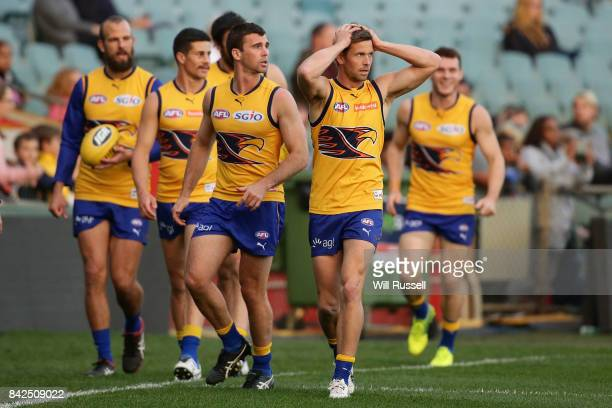 Mark LeCras of the Eagles walks the boundary during a West Coast Eagles AFL training session at Domain Stadium on September 4 2017 in Perth Australia