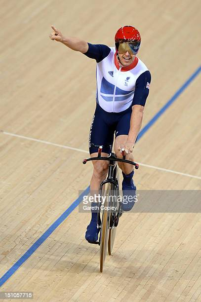 Mark Lee Colbourne of Great Britain celebrates after winning gold in the Men's Individual Cycling C1 Pursuit final on day 2 of the London 2012...