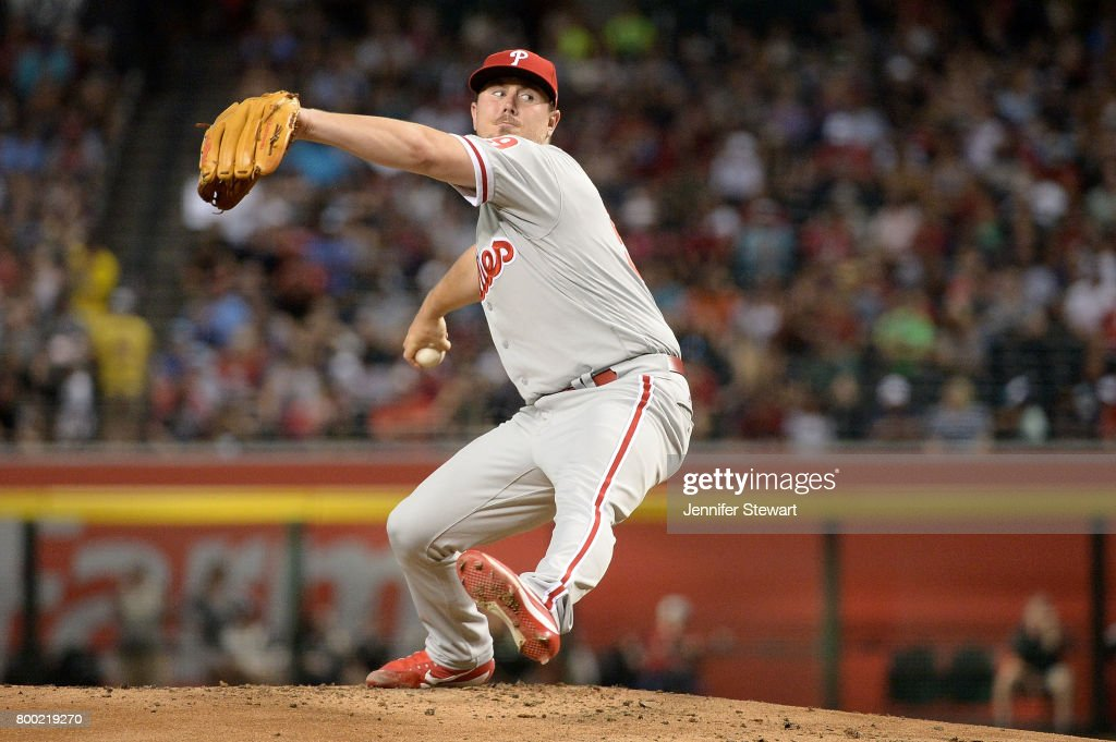 Mark Leiter Jr. #59 of the Philadelphia Phillies delivers a pitch during the first inning of the MLB game against the Arizona Diamondbacks at Chase Field on June 23, 2017 in Phoenix, Arizona.