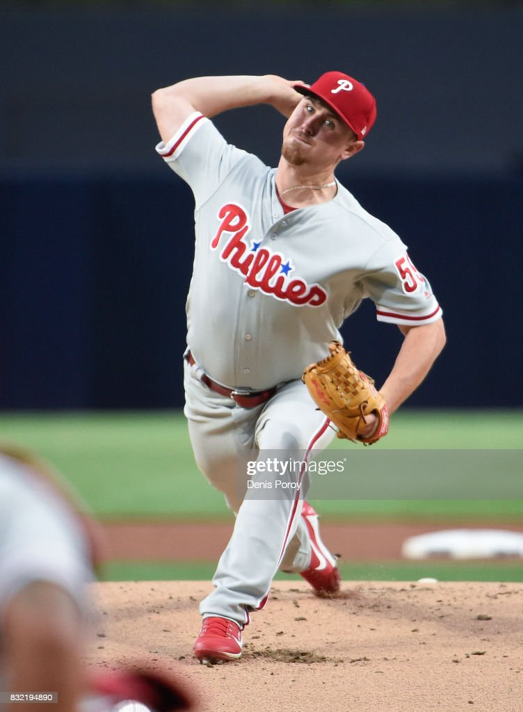 Mark Leiter Jr. #59 of the Philadelphia Phillies pitches during the first inning of a baseball game against the San Diego Padres at PETCO Park on August 15, 2017 in San Diego, California.