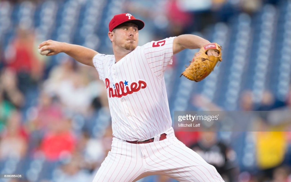 Mark Leiter Jr. #59 of the Philadelphia Phillies throws a pitch in the top of the first inning against the Miami Marlins at Citizens Bank Park on August 23, 2017 in Philadelphia, Pennsylvania.
