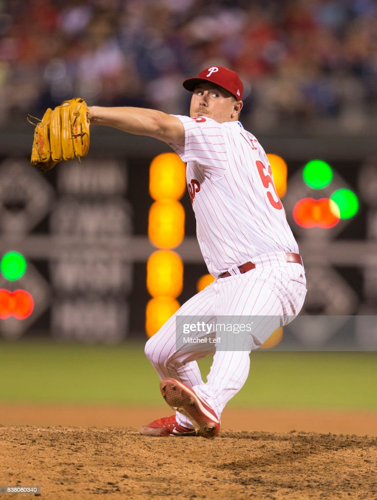 Mark Leiter Jr. #59 of the Philadelphia Phillies throws a pitch in the top of the fifth inning against the Miami Marlins at Citizens Bank Park on August 23, 2017 in Philadelphia, Pennsylvania. The Phillies defeated the Marlins 8-0.