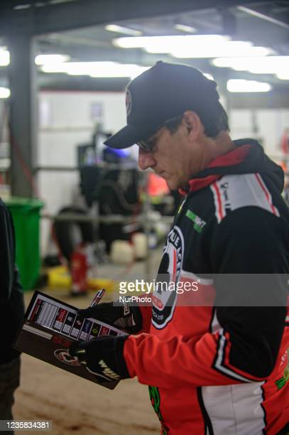 Mark Lemon checks his programme during the SGB Premiership Grand Final 1st Leg between Belle Vue Aces and Peterborough Panthers at the National...