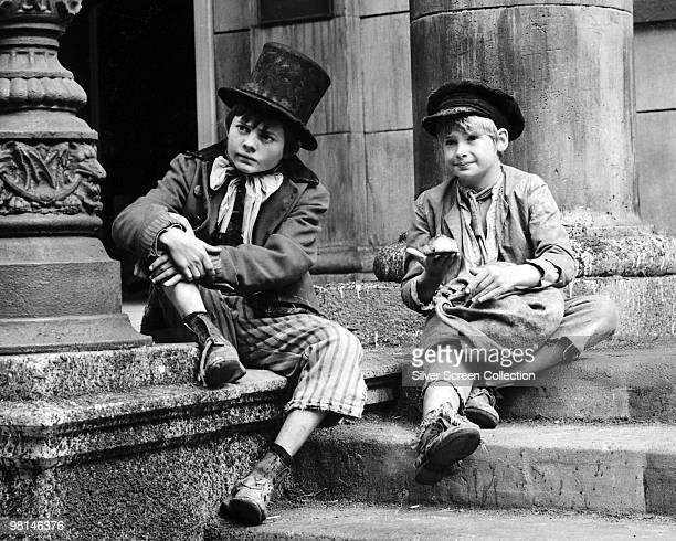 Mark Lester as Oliver Twist and Jack Wild as The Artful Dodger on the set of the musical film 'Oliver' 1968