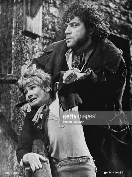 Mark Lester as Oliver Twist and Oliver Reed as Bill Sykes in the film Oliver ca 1968