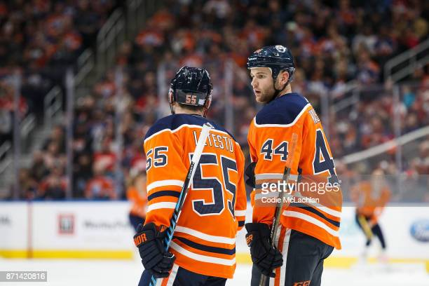Mark Letestu and Zack Kassian of the Edmonton Oilers strategize against the Detroit Red Wings at Rogers Place on November 5 2017 in Edmonton Canada