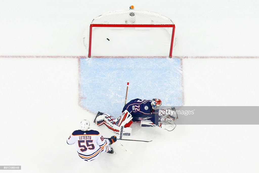 Mark Letestu #55 of the Edmonton Oilers beats Sergei Bobrovsky #72 of the Columbus Blue Jackets for a goal during the second period on December 12, 2017 at Nationwide Arena in Columbus, Ohio. Edmonton defeated Columbus 7-2.
