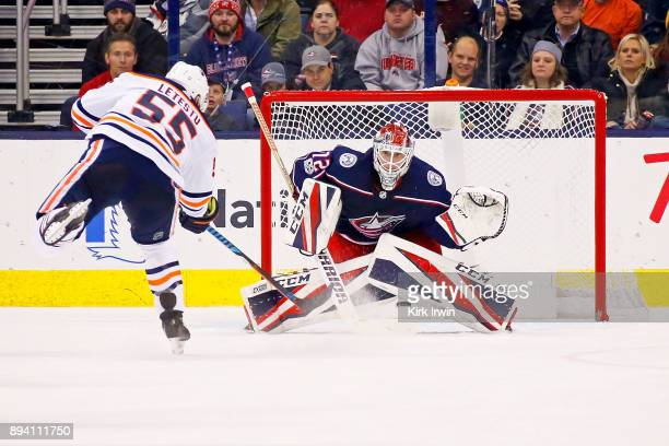 Mark Letestu of the Edmonton Oilers beats Sergei Bobrovsky of the Columbus Blue Jackets for a goal during the game on December 12 2017 at Nationwide...