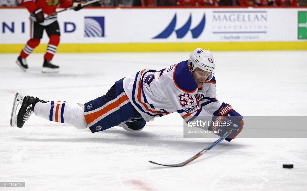 Mark Letestu #55 of the Edmonton Oilers dives to clear the puck during a Chicago Blackhawks power play in the third period at the United Center on February 18, 2017 in Chicago, Illinois. The Oilers defeated the Blackhawks 3-1.