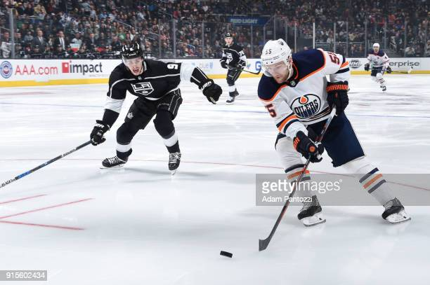 Mark Letestu of the Edmonton Oilers handles the puck against Adrian Kempe of the Los Angeles Kings at STAPLES Center on February 7 2018 in Los...
