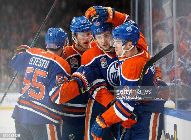 Mark Letestu Oscar Klefbom Leon Draisaitl and Connor McDavid of the Edmonton Oilers celebrate McDavid's goal against the Pittsburgh Penguins on March...