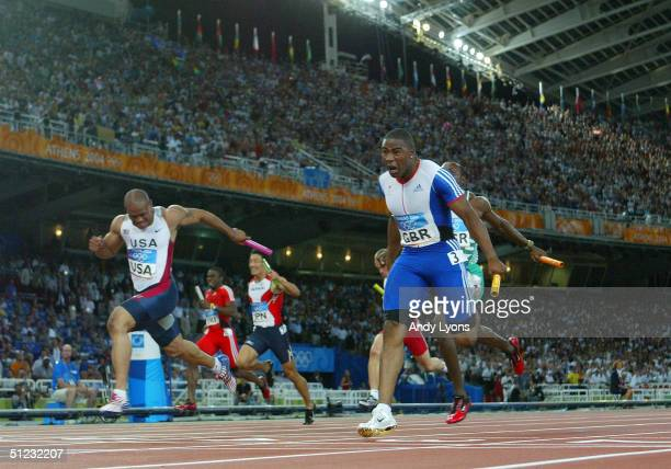 Mark LewisFrancis of Great Britain competes in the men's 4 x 100 metre relay final on August 28 2004 during the Athens 2004 Summer Olympic Games at...