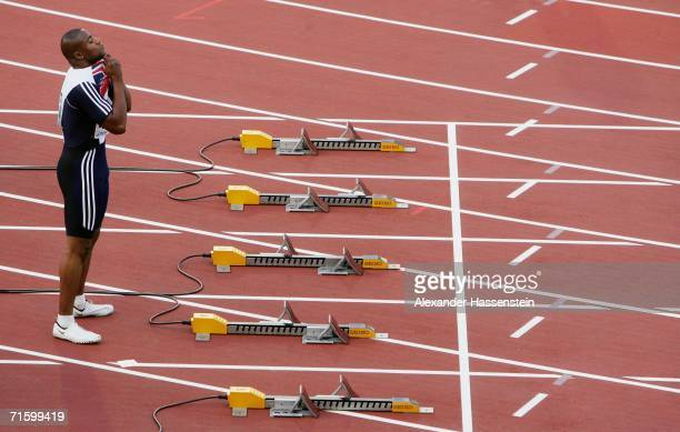 Mark LewisFrancis of Great Britain prepares for his Men's 100 Metres Second Round race on day one of the 19th European Athletics Championships at the...