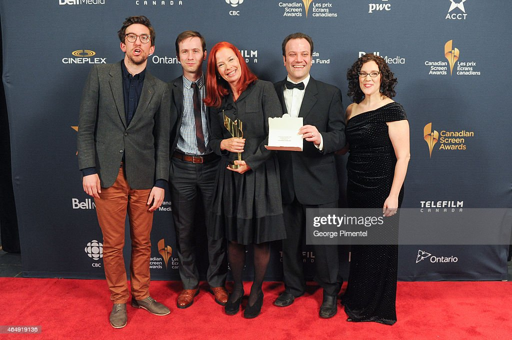 Mark Little, Dan Beirne, Lisa Baylin, Jonas Diamond and Catherine Tait pose in the press room at the 2015 Canadian Screen Awards at the Four Seasons Centre for the Performing Arts on March 1, 2015 in Toronto, Canada.
