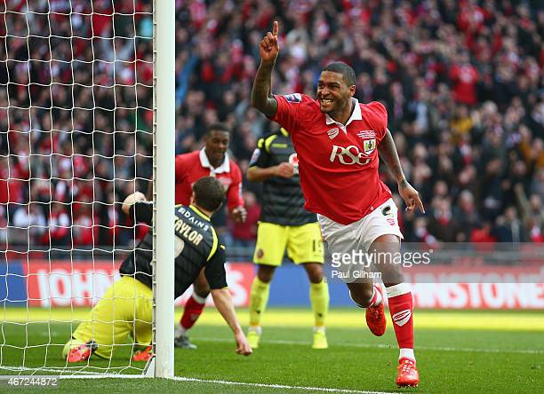 Mark Little of Bristol City celebrates scoring the second goal for Bristol City during the Johnstone's Paint Trophy Final between Bristol City and...