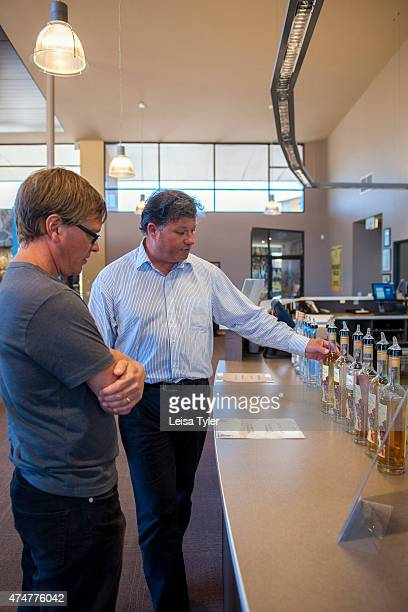 Mark Littler the general manager of Hellyers Road a whisky distillery in Burnie explains the company's whisky range to a tourist Having the cleanest...