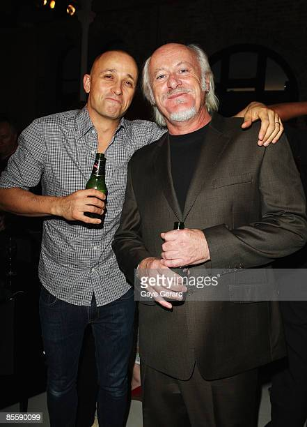 Mark Lizotte and Billy Birmingham pose during the official launch of `My First Gig With Jimmy Barnes` at Studio 24 on March 25 2009 in Sydney...