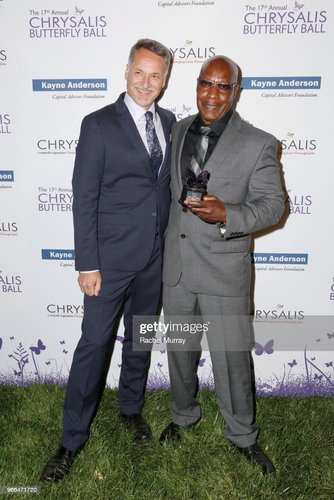 Mark Loranger and honoree Myron Tobin at the 17th Annual Chrysalis Butterfly Ball sponsored by Kayne Anderson Capital Advisors Foundation on June 2, 2018.