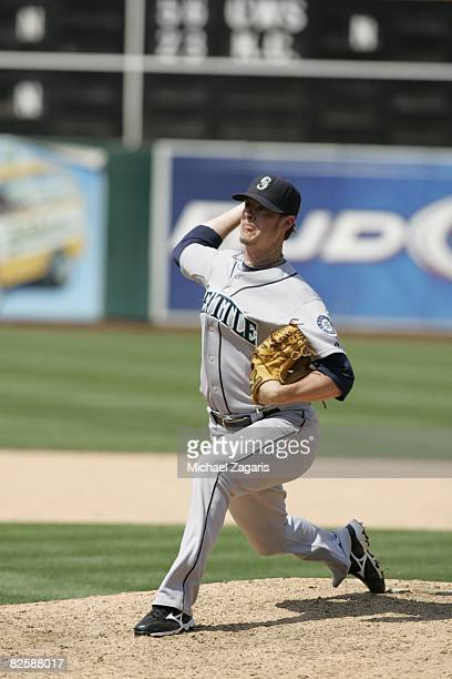 Mark Lowe of the Seattle Mariners pitches during the game against the Oakland Athletics at McAfee Coliseum in Oakland California on July 10 2008 The...