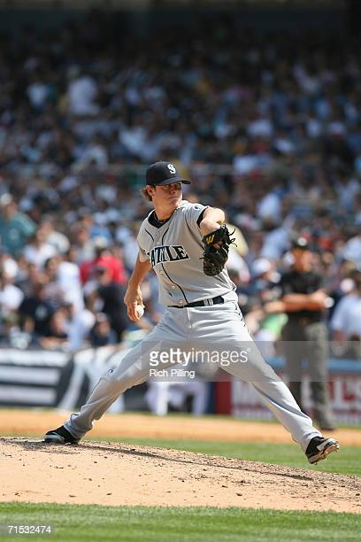Mark Lowe of the Seattle Mariners pitching during the game against the New York Yankees at Yankee Stadium in the Bronx New York on July 19 2006 The...