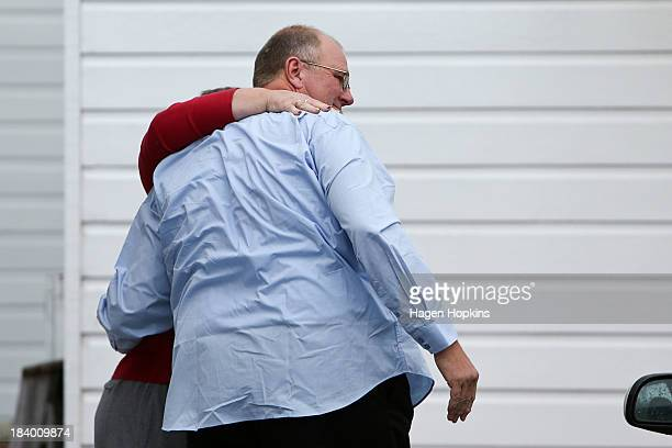 Mark Lundy arrives at his bail address after being released on bail from Rangipo Prison on October 11, 2013 in New Zealand. Mark Lundy was arrested...
