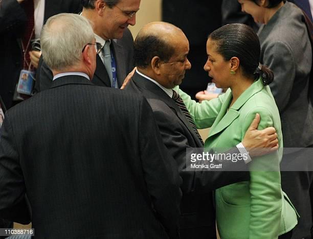 Mark Lyall Grant permanent United Nations representative of the United Kingdom looks on as Abdurrahman Mohamed Shalgham former Libyian premanant...
