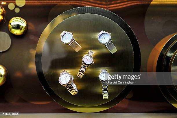 Mark Maddox watches are displayed during Baselworld on March 16 2016 in Basel Switzerland Held annually Baselworld is the most important watch and...
