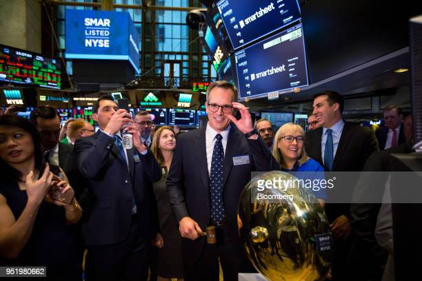 Mark Mader president and chief executive officer of Smartsheetcom Inc center and Jennifer Ceran chief financial officer at Smartsheetcom Inc center...