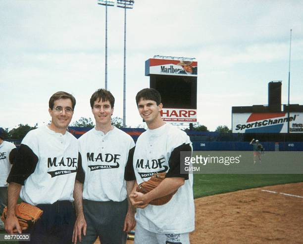 ACCESS*** Mark Madoff Andrew Madoff and Roger Madoff at Shea Stadium during June 1995 in New York City