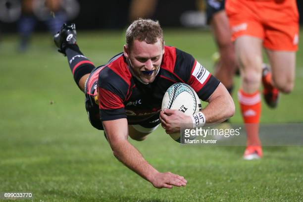 Mark Maitland of Canterbury dives over to score a try during the Ranfurly Shield match between Canterbury and Wanganui at AMI Stadium on June 21 2017...