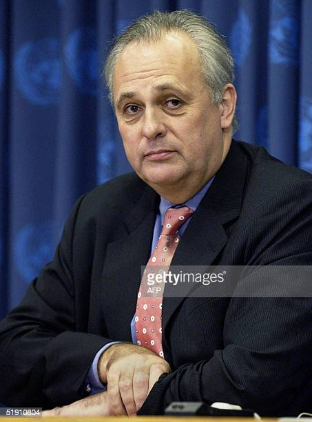 Mark Malloch Brown administrator of the United Nations Development Program looks on as he is announced as new chiefofstaff of UN Secretary General...