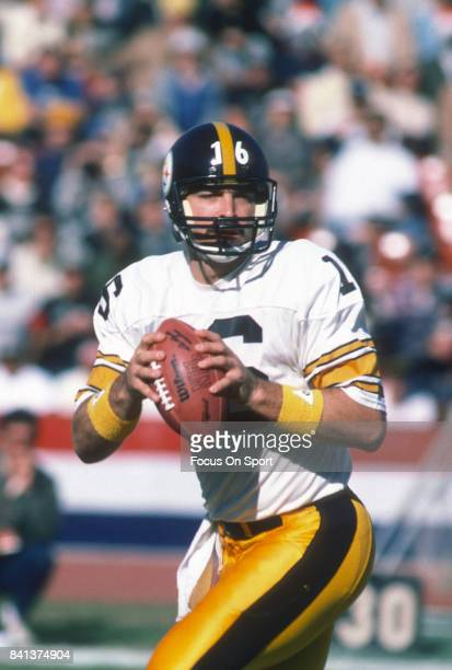 Mark Malone of the Pittsburgh Steelers looks to pass against the Los Angeles Raiders during an NFL football game December 16 1984 at the Los Angeles...