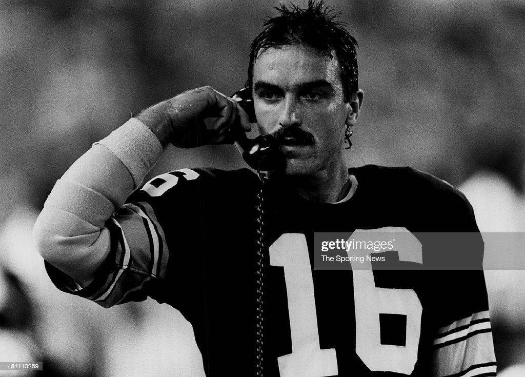 Mark Malone of the Pittsburgh Steelers talks on the phone circa 1980s.
