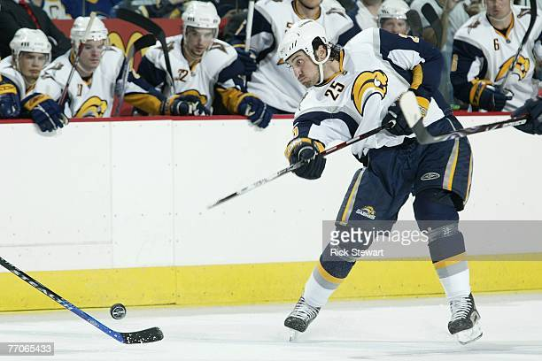 Mark Mancari of the Buffalo Sabres shoots the puck against the Columbus Blue Jackets on September 21, 2007 at HSBC Arena in Buffalo, New York.
