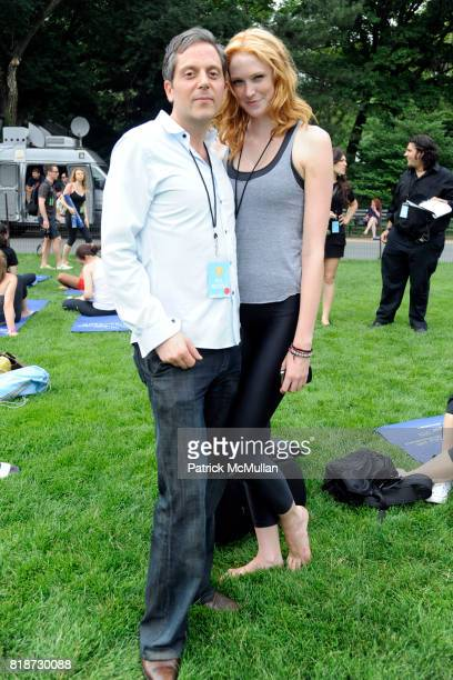Mark Mangan and Alise Shoemaker attend FLAVORPILL and jetBlue host Yoga on the Great Lawn with Elena Brower at The Great Lawn on June 22 2010 in New...