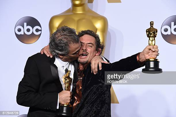 Mark Mangini and David White pose with their Oscar for Best Sound Editing Mad Max Fury Road in the press room during the 88th Oscars in Hollywood on...