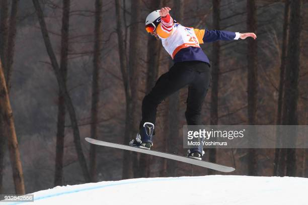 Mark Mann of the United States competes in the Men's Snowboard Cross SBLL1 Qualification Run 1 during day three of the PyeongChang 2018 Paralympic...