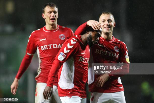Mark Marshall of Charlton Athletic is congratulated by team mate Chris Solly after scoring his sides second goal during the Sky Bet League One match...
