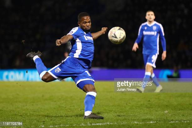 Mark Marshall of Gillingham shoots during the FA Cup Third Round match between Gillingham FC and West Ham United at MEMS Priestfield Stadium on...