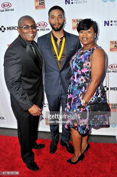 Mark Martin actor Jussie Smollett and Rasheda Douglas attend the Black AIDS Institute 2015 Heroes in the Struggle Reception Gala and Awards Ceremony...